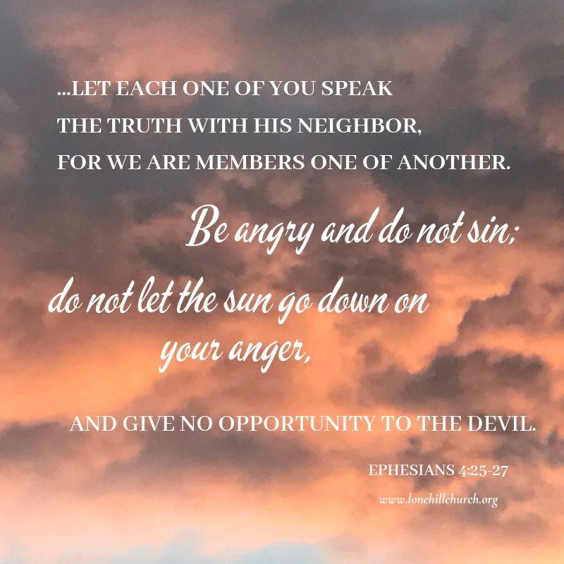 Anger - Ephesians 4:25-27
